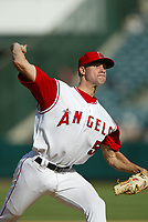 Chris Bootcheck of the Anaheim Angels during a 2003 season MLB game at Angel Stadium in Anaheim, California. (Larry Goren/Four Seam Images)