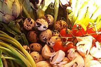 A bowl of vegetables with mushrooms tomato, celery, quail eggs Clos des Iles Le Brusc Six Fours Cote d'Azur Var France
