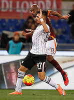 Calcio, Serie A:  Roma vs Palermo. Roma, stadio Olimpico, 21 febbraio 2016. <br /> Roma's Maicon, right, is challenged by Palermo's Giuseppe Pezzella during the Italian Serie A football match between Roma and Palermo at Rome's Olympic stadium, 21 February 2016.<br /> UPDATE IMAGES PRESS/Riccardo De Luca