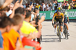 Primoz Roglic (SLO) Jumbo-Visma and White Jersey Egan Bernal (COL) Ineos Grenadiers attack on the final climb during Stage 6 of La Vuelta d'Espana 2021, running 158.3km from Requena to Alto de la Montaña Cullera, Spain. 19th August 2021.    <br /> Picture: Luis Angel Gomez/Photogomezsport   Cyclefile<br /> <br /> All photos usage must carry mandatory copyright credit (© Cyclefile   Luis Angel Gomez/Photogomezsport)
