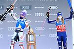 FIS Alpine Ladies Ski World Cup 2021 . Kronplatz, Plan De Corones, Italy on January 26, 2021.  Tessa Worley (FRA) and left Marta Bassino (ITA)