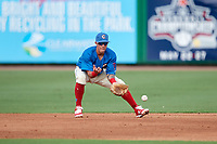 Clearwater Threshers second baseman Jose Gomez (3) fields a ground ball during a game against the Florida Fire Frogs on June 1, 2018 at Spectrum Field in Clearwater, Florida.  Clearwater defeated Florida 2-0 in a game that was started on May 19th but called in the fifth inning due to weather.  (Mike Janes/Four Seam Images)