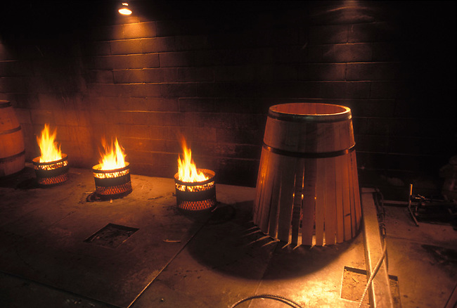 Wine barrels toasted over fire to give slight smoke flavor to wine
