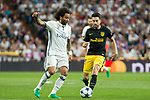 Marcelo Vieira of Real Madrid holds off pressure from  Lucas Hernandez of Atletico de Madrid  during the match of Champions League between Real Madrid and Atletico de Madrid at Santiago Bernabeu Stadium  in Madrid, Spain. May 02, 2017. (ALTERPHOTOS/Rodrigo Jimenez)
