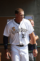 Charleston RiverDogs outfielder Aaron Judge #35 during a game against the Greenville Drive at Joseph P. Riley Jr. Ballpark  on April 9, 2014 in Charleston, South Carolina. Greenville defeated Charleston 6-3. (Robert Gurganus/Four Seam Images)