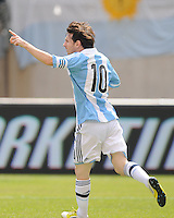 Argentina forward Lionel Messi (10) celebrates his score in the 31th minute of the game. The Argentina National Team defeated Brazil 4-3 at MetLife Stadium, Saturday July 9 , 2012.
