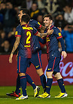 VALLADOLID, SPAIN - DECEMBER 22:  Lionel Messi of FC Barcelona celebrates after scoring against Real Valladolid during the La Liga game between Real Valladolid and FC Barcelona at Jose Zorrilla on December 22, 2012 in Valladolid, Spain. Photo by Victor Fraile / The Power of Sport Images