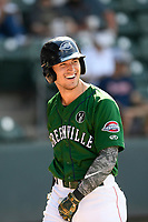 Left fielder Jordan Wren (3) of the Greenville Drive celebrates after hitting a two-run home run in a game against the West Virginia Power on Sunday, May 19, 2019, at Fluor Field at the West End in Greenville, South Carolina. Greenville won, 8-4. (Tom Priddy/Four Seam Images)
