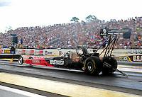 Aug. 21, 2011; Brainerd, MN, USA: NHRA top fuel dragster driver Rod Fuller during the Lucas Oil Nationals at Brainerd International Raceway. Mandatory Credit: Mark J. Rebilas-