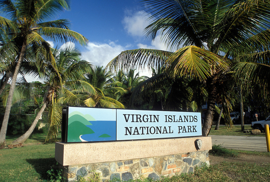 Virgin Islands National Park, St. John, U.S. Virgin Islands, Caribbean, USVI, Cruz Bay, Entrance sign to Virgin Islands Nat'l Park on Saint John Island.