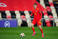 Hayley Ladd of Wales Women's in action during the UEFA Women's EURO 2022 Qualifier match between Wales Women and Faroe Islands Women at Rodney Parade in Newport, Wales, UK. Thursday 22 October 2020