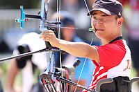 27th August 2021; Tokyo, Japan; Kohji Oyama (JPN), Archery : <br /> Men's Individual W1 Ranking Round <br /> during the Tokyo 2020 Paralympic Games at the Yumenoshima Park Archery Field in Tokyo, Japan.