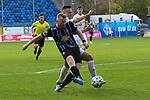 Waldhofs Dominik Martinovic (Nr.11) bei seinem Treffer zum 3:0 dahinter Ingolstadts Dominik Franke (Nr.3)  beim Spiel in der 3. Liga, SV Waldhof Mannheim - FC Ingolstadt.<br /> <br /> Foto © PIX-Sportfotos *** Foto ist honorarpflichtig! *** Auf Anfrage in hoeherer Qualitaet/Aufloesung. Belegexemplar erbeten. Veroeffentlichung ausschliesslich fuer journalistisch-publizistische Zwecke. For editorial use only. DFL regulations prohibit any use of photographs as image sequences and/or quasi-video.