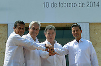 CARTAGENA - COLOMBIA, 10-02-2014 (de izq a der) Ollanta Humala, presidente del Perú,  Sebastian Piñera, presidente de Chile, Juan Manuel Santos presidente de Colombia y Enrique Peña Nieto, presidente de Mexico posan para la foto oficial de la VIII Cumbre de la Alianza del Pacífico, que se desarrolla en el Centro de Convenciones de Cartagena./ (from L to R ) Ollanta Humala, president of Peru, Sebastian Piñera, president of Chile, Juan Manuel Santos president of Colombia and Enrique Peña Nieto, president of Mexico pose to the official picture of the VIII Summit Alianza del Pacifico at convention center in Cartagena, Colombia. Photo: VizzorImage /  Javier Casella - SIG / HANDOUT PICTURE; MANDATORY EDITORIAL USE ONLY/