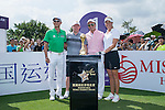 (L-R) Wang Zhiwen, Paul Scholes, Tenniel Chu, and Suzann Pettersen at the 1st hole during the World Celebrity Pro-Am 2016 Mission Hills China Golf Tournament on 22 October 2016, in Haikou, China. Photo by Marcio Machado / Power Sport Images