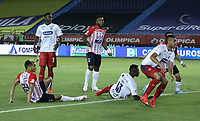 BARRANQUILLA - COLOMBIA, 16-01-2021:Teofilo Gutierrez del Atlético Junior  anota el primer gol de su equipo durante el partido entre Atlético Junior y Deportivo Independiente Medellín por la fecha 1 de la Liga BetPlay DIMAYOR I 2021 jugado en el estadio Metropolitano Roberto Meléndez de la ciudad de Barranquilla. /Teofilo Gutierrez of Atletico Junior scores the first goal of his team during match between Atletico Junior and Deportivo Independiente Medellin for the date 1 as part of BetPlay DIMAYOR League I 2021 played at Metropolitano Roberto Melendez stadium in Barranquilla city.  Photo: VizzorImage / Jesus Rico / Contribuidor