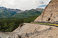 Train winding it's way through the pristine Alaskan landscape, Alaska USA