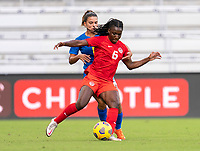 ORLANDO, FL - FEBRUARY 24: Deanne Rose #6 of Canada dribbles during a game between Brazil and Canada at Exploria Stadium on February 24, 2021 in Orlando, Florida.