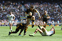 Elliot Daly of Wasps leaps over Olly Woodburn of Exeter Chiefs to score a try during the Premiership Rugby Final at Twickenham Stadium on Saturday 27th May 2017 (Photo by Rob Munro)