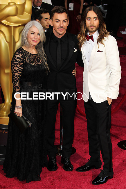 HOLLYWOOD, CA, USA - MARCH 02: Constance Leto, Shannon Leto, Jared Leto at the 86th Annual Academy Awards held at Dolby Theatre on March 2, 2014 in Hollywood, Los Angeles, California, United States. (Photo by Xavier Collin/Celebrity Monitor)