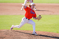 Ty Olenchuk (34) of the Clemson Tigers delivers a pitch in a fall Orange-Purple intrasquad scrimmage on Saturday, November 14, 2020, at Doug Kingsmore Stadium in Clemson, South Carolina. (Tom Priddy/Four Seam Images)