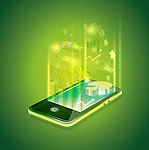 Illustrative image of mobile phone representing business applications