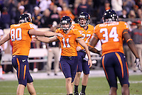Nov 13, 2010; Charlottesville, VA, USA;  Virginia Cavaliers kicker Chris Hinkebein (11) celebrates with teammates after kicking a 52 yard field goal during the 1st half of the game at Scott Stadium.  Mandatory Credit: Andrew Shurtleff