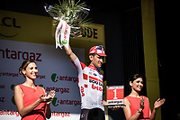 Tiesj Benoot (BEL/Lotto Soudal) on podium as most combative rider of the stage. <br /> <br /> Stage 9: Saint-Étienne to Brioude (170km)<br /> 106th Tour de France 2019 (2.UWT)<br /> <br /> ©kramon