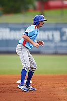 Tennessee Smokies third baseman Wes Darvill (8) leads off second during a game against the Montgomery Biscuits on May 25, 2015 at Riverwalk Stadium in Montgomery, Alabama.  Tennessee defeated Montgomery 6-3 as the game was called after eight innings due to rain.  (Mike Janes/Four Seam Images)