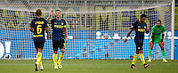 Calcio, Serie A: Inter vs Juventus. Milano, stadio San Siro, 18 settembre 2016.<br /> Inter's Mauro Icardi, second from left, celebrates after scoring as Juventus' goalkeeper Gianluigi Buffon, right, reacts during the Italian Serie A football match between FC Inter and Juventus at Milan's San Siro stadium, 18 September 2016.<br /> UPDATE IMAGES PRESS/Isabella Bonotto
