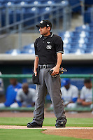 Umpire Reid Joyner during a game between the Dunedin Blue Jays and Clearwater Threshers on August 15, 2016 at Bright House Field in Clearwater, Florida.  Dunedin defeated Clearwater 4-1.  (Mike Janes/Four Seam Images)