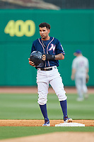 Northwest Arkansas Naturals shortstop Humberto Arteaga (6) stands on second base during a game against the Midland RockHounds on May 27, 2017 at Arvest Ballpark in Springdale, Arkansas.  NW Arkansas defeated Midland 3-2.  (Mike Janes/Four Seam Images)