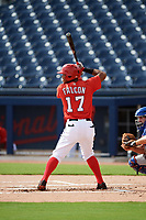 GCL Nationals left fielder Santo Falcon (17) at bat during the first game of a doubleheader against the GCL Mets on July 22, 2017 at The Ballpark of the Palm Beaches in Palm Beach, Florida.  GCL Mets defeated the GCL Nationals 1-0 in a seven inning game that originally started on July 17th.  (Mike Janes/Four Seam Images)