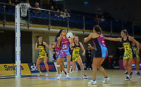 Kiana Pelasio takes a pass during the National Netball League match between Central Manawa and Southern Blast at Te Rauparaha Arena in Porirua, New Zealand on Sunday, 10 May 2021. Photo: Dave Lintott / lintottphoto.co.nz