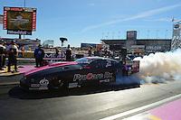 Oct. 27, 2012; Las Vegas, NV, USA: NHRA pro mod driver Leah Pruett during qualifying for the Big O Tires Nationals at The Strip in Las Vegas. Mandatory Credit: Mark J. Rebilas-