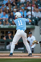 Cody Roberts (11) of the North Carolina Tar Heels at bat against the South Carolina Gamecocks at BB&T BallPark on April 3, 2018 in Charlotte, North Carolina. The Tar Heels defeated the Gamecocks 11-3. (Brian Westerholt/Four Seam Images)