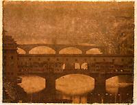 Polaroid Transfer Photograph of Ponte Vecchio and the Arno River, Florence, Italy