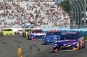 #11: Denny Hamlin, Joe Gibbs Racing, Toyota Camry FedEx Ground, #51: Josh Bilicki, Rick Ware Racing, Chevrolet Camaro Jacob Companies