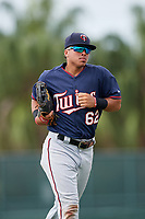 GCL Twins right fielder Erick Rivera (62) jogs back to the dugout during the first game of a doubleheader against the GCL Orioles on August 1, 2018 at CenturyLink Sports Complex Fields in Fort Myers, Florida.  GCL Twins defeated GCL Orioles 7-6 in the completion of a suspended game originally started on July 31st, 2018.  (Mike Janes/Four Seam Images)