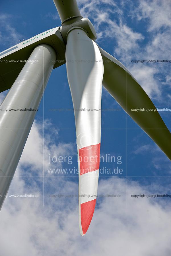 GERMANY Schleswig-Holstein Nortorf, construction of wind turbine SENVION 3.2M114, performance 3,2 Megawatt, Senvion (formerly REpower AG) is part of indian Suzlon Group / DEUTSCHLAND Schleswig Holstein Nortorf, Aufbau einer Windkraftanlage Senvion 3.2M 114