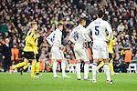 Real Madrid's Toni Kroos, Carlos Henrique Casemiro and Raphael Varane during the UEFA Champions League match between Real Madrid and Borussia Dortmund at Santiago Bernabeu Stadium in Madrid, Spain. December 07, 2016. (ALTERPHOTOS/BorjaB.Hojas)