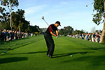 Tiger Woods tees off on the 17 hole at La Costa during the Accenture tournament.