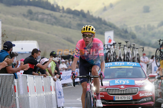 Hugh Carthy (GBR) EF Pro Cycling summits the Col de Peyresourde during Stage 8 of Tour de France 2020, running 141km from Cazeres-sur-Garonne to Loudenvielle, France. 5th September 2020. <br /> Picture: Colin Flockton | Cyclefile<br /> All photos usage must carry mandatory copyright credit (© Cyclefile | Colin Flockton)