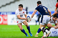 26th March 2021, Stade de France, Saint-Denis, France; Guinness 6-Nations international rugby, France versus Scotland;  Antoine Dupont (Fra) looks to pass along his line before contact with Price (Sco)