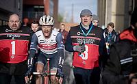 race winner Jasper Stuyven (BEL/Trek-Segafredo) post-race<br /> <br /> 75th Omloop Het Nieuwsblad 2020 (1.UWT)<br /> Gent to Ninove (BEL): 200km<br /> <br /> ©kramon
