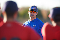 Casey Scott coaches for the Red Sox during the Under Armour Baseball Factory Recruiting Classic at Gene Autry Park on December 27, 2017 in Mesa, Arizona. (Zachary Lucy/Four Seam Images)