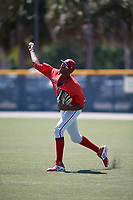 Philadelphia Phillies Carlos De La Cruz (53) before a Minor League Extended Spring Training game against the Pittsburgh Pirates on May 3, 2018 at Pirate City in Bradenton, Florida.  (Mike Janes/Four Seam Images)