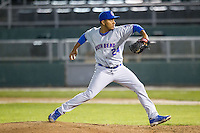 South Bend Cubs pitcher Greyfer Eregua (24) delivers a pitch to the plate against the Lansing Lugnuts on May 12, 2016 at Cooley Law School Stadium in Lansing, Michigan. Lansing defeated South Bend 5-0. (Andrew Woolley/Four Seam Images)