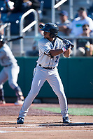 Tri-City Dust Devils shortstop Xavier Edwards (2) at bat during a Northwest League game against the Everett AquaSox at Everett Memorial Stadium on September 3, 2018 in Everett, Washington. The Everett AquaSox defeated the Tri-City Dust Devils by a score of 8-3. (Zachary Lucy/Four Seam Images)