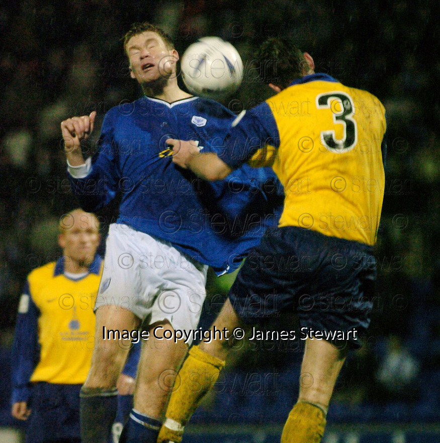 20/12/03          Copyright Pic : James Stewart.File Name : stewart13-stjohn_v_qos.DARREN DODDS AND ANDY AITKEN CHALLENGE FOR THE BALL........Payment should be made to :-.James Stewart Photo Agency, 19 Carronlea Drive, Falkirk. FK2 8DN      Vat Reg No. 607 6932 25.Office     : +44 (0)1324 570906     .Mobile  : +44 (0)7721 416997.Fax         :  +44 (0)1324 570906.E-mail  :  jim@jspa.co.uk.If you require further information then contact Jim Stewart on any of the numbers above.........